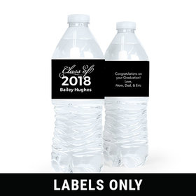 Personalized Graduation Script Black Water Bottle Sticker Labels (5 Labels)
