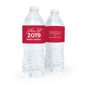 Personalized Graduation Script Red Water Bottle Sticker Labels (5 Labels)