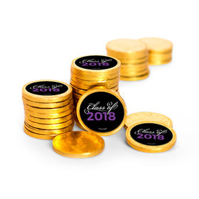 Graduation Script Gold Foil Chocolate Coins with Purple Stickers (72 Pack)