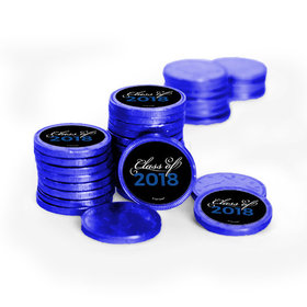 Graduation Script Royal Blue Chocolate Coins with Stickers (72 Pack)