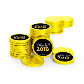 Graduation Script Yellow Chocolate Coins with Stickers (84 Pack)