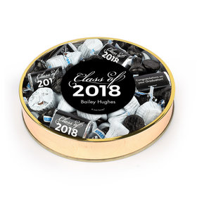 Personalized Black Graduation Class Of Large Plastic Tin Hershey's & Reese's Mix
