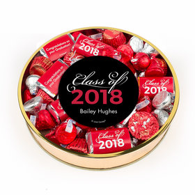 Personalized Red Graduation Class Of Large Plastic Tin Hershey's & Reese's Mix