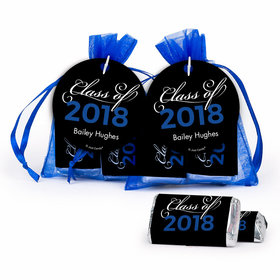 Personalized Graduation Blue Class Of Hershey's Miniatures in XS Organza Bags with Gift Tag