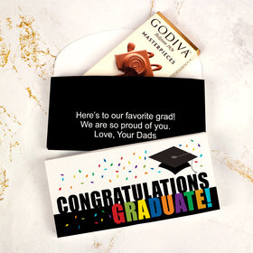 Deluxe Personalized Confetti Celebration Graduation Godiva Chocolate Bar in Gift Box