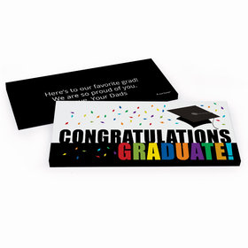 Deluxe Personalized Confetti Celebration Graduation Chocolate Bar in Gift Box
