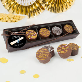 Personalized Graduation Scroll Gourmet Belgian Chocolate Truffle Gift Box (5 Truffles)