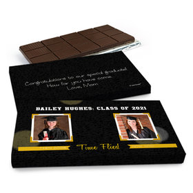 Deluxe Personalized Graduation Then and Now Grad Chocolate Bar in Gift Box (3oz Bar)