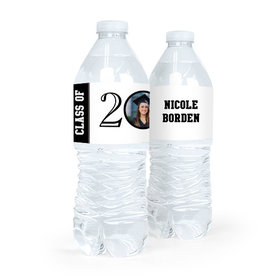 Personalized Graduation Circle Year Photo Green Water Bottle Sticker Labels (5 Labels)