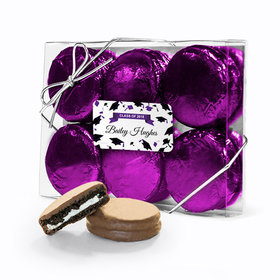 Personalized Graduation Hats Off Purple 6PK Belgian Chocolate Covered Oreo Cookies