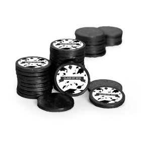 Graduation Hats Off Black Chocolate Coins with Black Stickers (84 Pack)