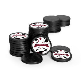 Graduation Hats Off Black Chocolate Coins with Maroon Stickers (84 Pack)