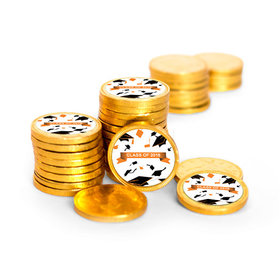 Graduation Hats Off Gold Foil Chocolate Coins with Orange Stickers (72 Pack)