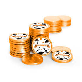 Graduation Hats Off Orange Chocolate Coins with Stickers (72 Pack)