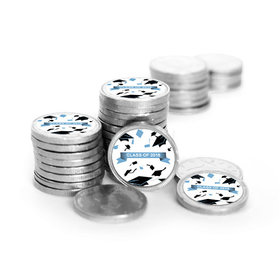 Graduation Hats Off Silver Foil Chocolate Coins with Baby Blue Stickers (72 Pack)