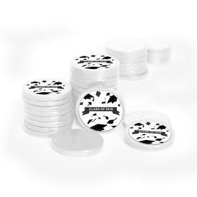 Graduation Hats Off White Foil Chocolate Coins with Black Stickers (72 Pack)