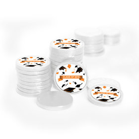 Graduation Hats Off White Foil Chocolate Coins with Orange Stickers (72 Pack)