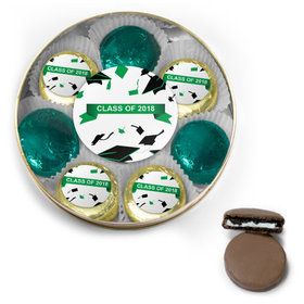 Green Graduation Hats Off Belgian Chocolate Covered Oreo Cookies Large Gold Plastic Tin