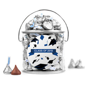 Graduation Hats Off Silver Paint Can with Blue Sticker
