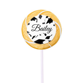 Personalized Graduation Hats Off Small Gold Swirly Pop (24 Pack)