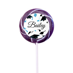 Personalized Graduation Hats Off Small Purple Swirly Pop (24 Pack)