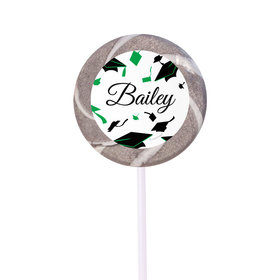 Personalized Graduation Hats Off Small Silver Swirly Pop (24 Pack)