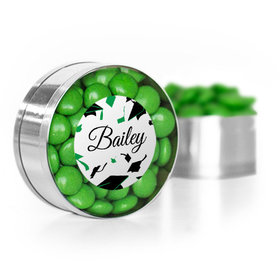Personalized Graduation Green Hats off Small Gold Plastic Tin with Just Candy Green Minis