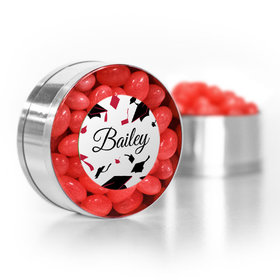 Personalized Graduation Red Hats off Small Gold Plastic Tin with Just Candy Red Jelly Beans