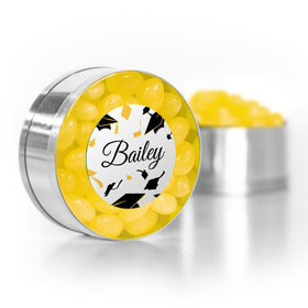 Personalized Graduation Yellow Hats off Small Gold Plastic Tin with Just Candy Yellow Jelly Beans