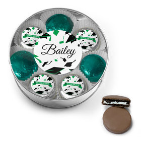 Personalized Green Graduation Hats Off Belgian Chocolate Covered Oreo Cookies XL Silver Plastic Tin
