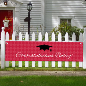 Personalized Graduation Checker Pattern 5 Ft. Banner