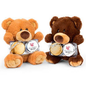Personalized Graduation Add Your School Logo Teddy Bear with Chocolate Covered Oreo 2pk
