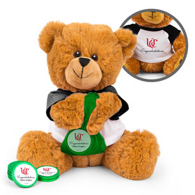 Personalized Add Your School Logo Graduation Teddy Bear with Chocolate Coins in XS Organza Bag