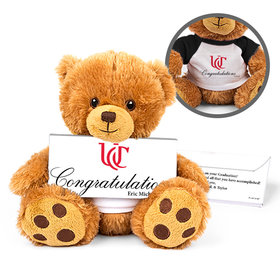 Personalized Graduation Add Your School Logo Teddy Bear with Embossed Chocolate Bar in Deluxe Gift Box