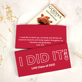 Deluxe Personalized I Did It Graduation Godiva Chocolate Bar in Gift Box