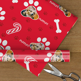 Custom Wrapping Paper - Pet Paw Photo Christmas