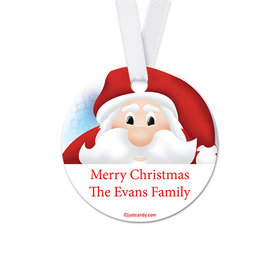 Personalized Christmas Santa Round Favor Gift Tags (20 Pack)