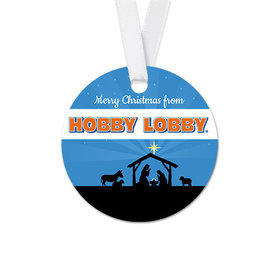 Personalized Christmas Holy Night Nativity Round Favor Gift Tags (20 Pack)