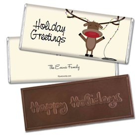 Red Nosed ReindeerEmbossed Happy Holidays Bar Personalized Embossed Chocolate Bar Assembled