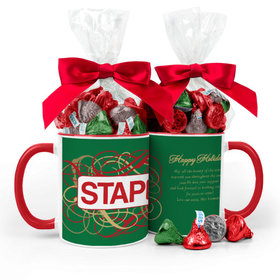 Personalized Christmas Ribbons 11oz Mug with Hershey's Kisses
