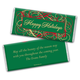 Holiday Scrolls Personalized Candy Bar - Wrapper Only