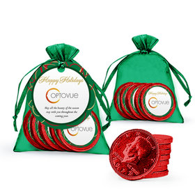 Christmas Add Your Logo Ribbons Chocolate Coins in XS Organza Bags