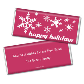 Happy Holidays Personalized Chocolate Bar Holiday Snowflakes