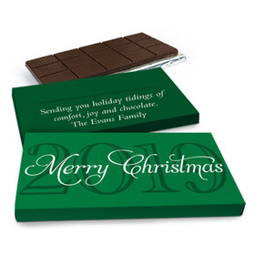 Deluxe Personalized Year Happy Holidays Chocolate Bar in Gift Box (3oz Bar)