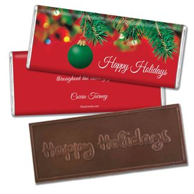 Decorated TreeEmbossed Happy Holidays Bar Personalized Embossed Chocolate Bar Assembled