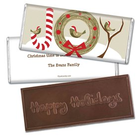 Winter BirdsEmbossed Happy Holidays Bar Personalized Embossed Chocolate Bar Assembled