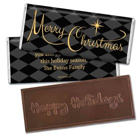 Christmas Personalized Embossed Chocolate Bar Argyle and Gold Merry Christmas