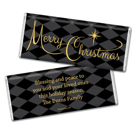 Christmas Personalized Chocolate Bar Argyle and Gold Merry Christmas