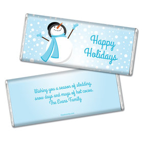 Happy Holidays Personalized Chocolate Bar Happy Holidays Frosty Snowman