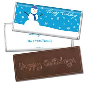 Friendly FrostyEmbossed Happy Holidays Bar Personalized Embossed Chocolate Bar Assembled